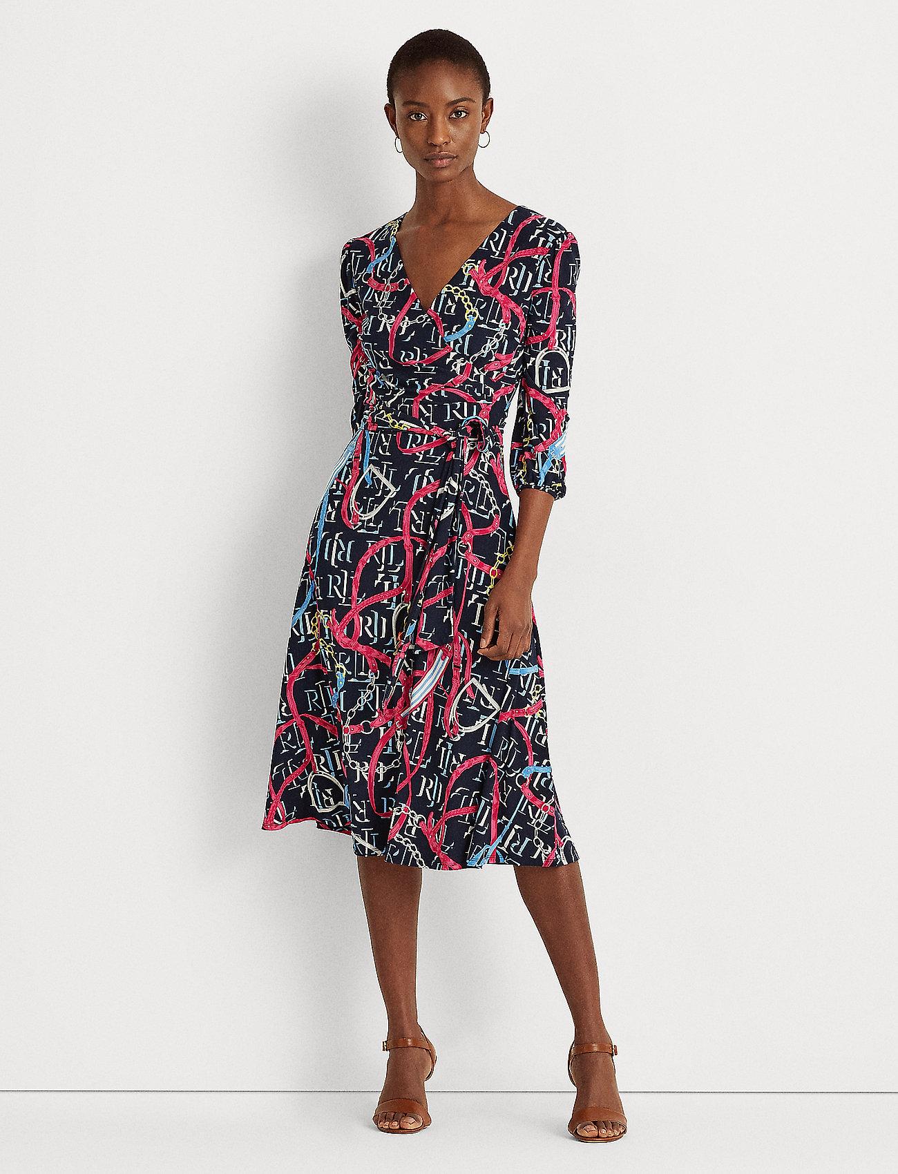 Lauren Ralph Lauren - Print Jersey Surplice Dress - hverdagskjoler - lh navy/aruba pin - 0