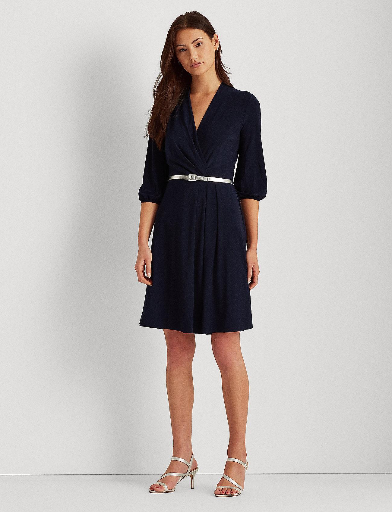 Lauren Ralph Lauren - Belted Surplice Jersey Dress - cocktailkjoler - lighthouse navy - 0