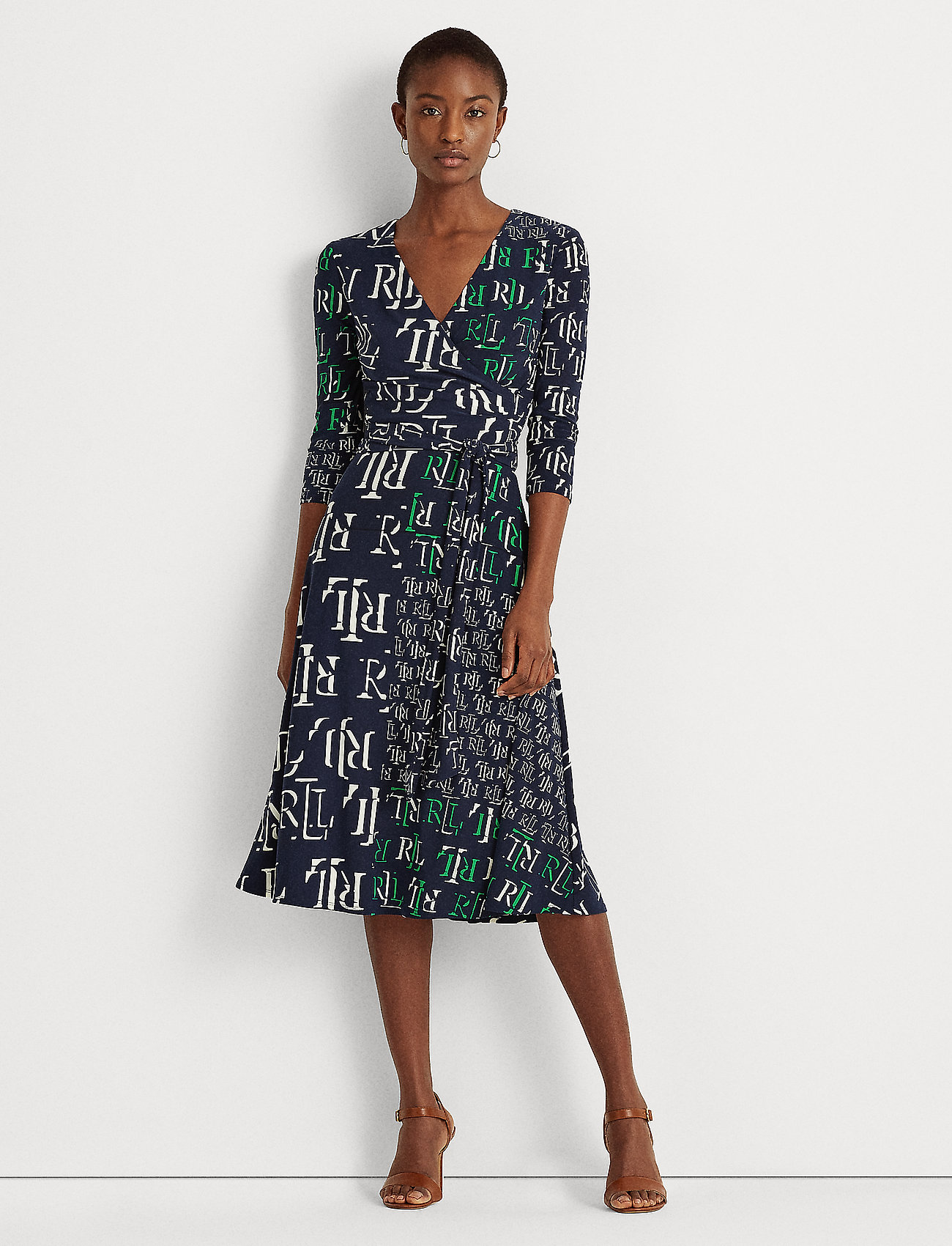 Lauren Ralph Lauren - Logo-Print Jersey Surplice Dress - hverdagskjoler - lh navy/stem/colo - 0