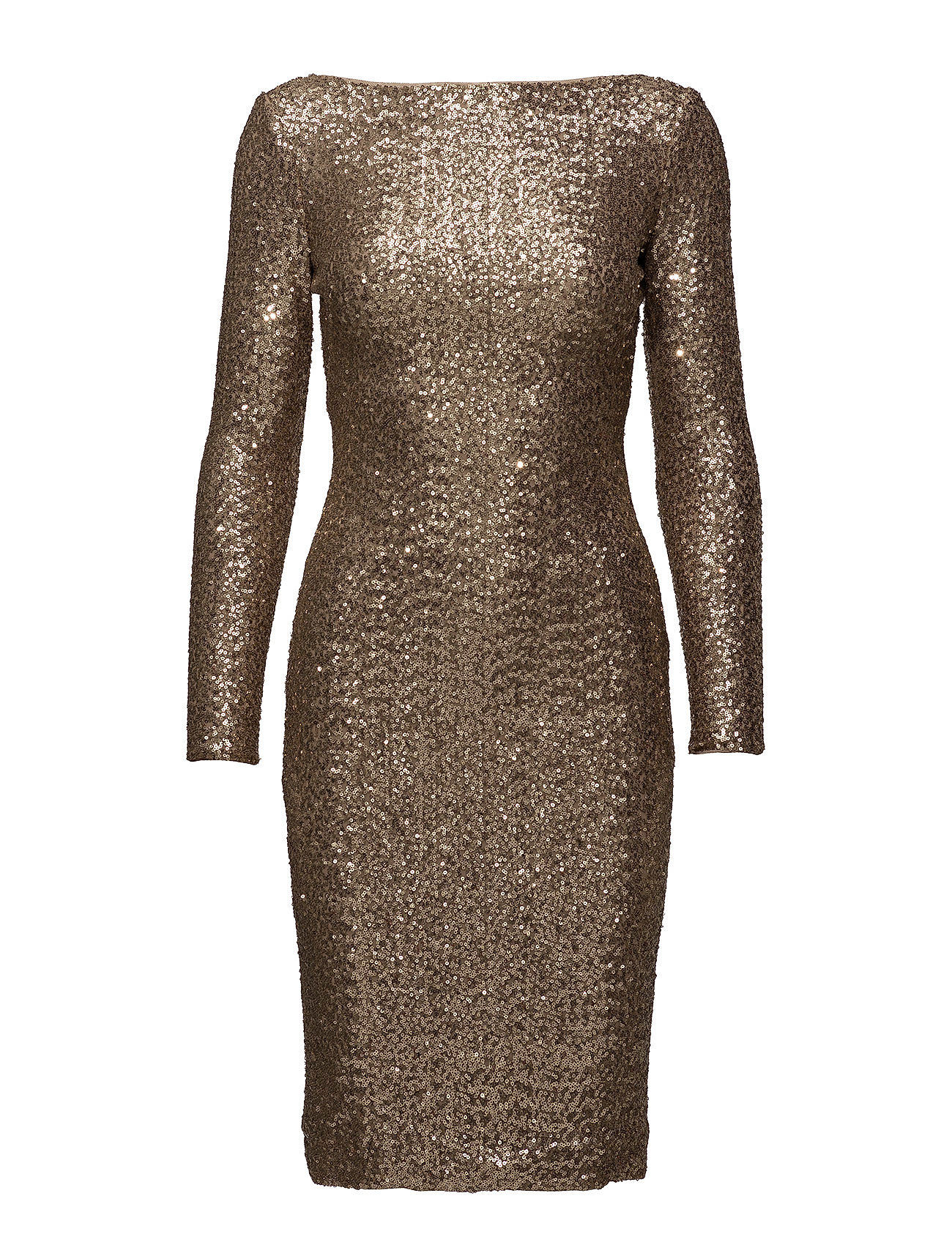 Sequined Scoopback Dress (White Sand Shine) (£135) - Lauren Ralph ...