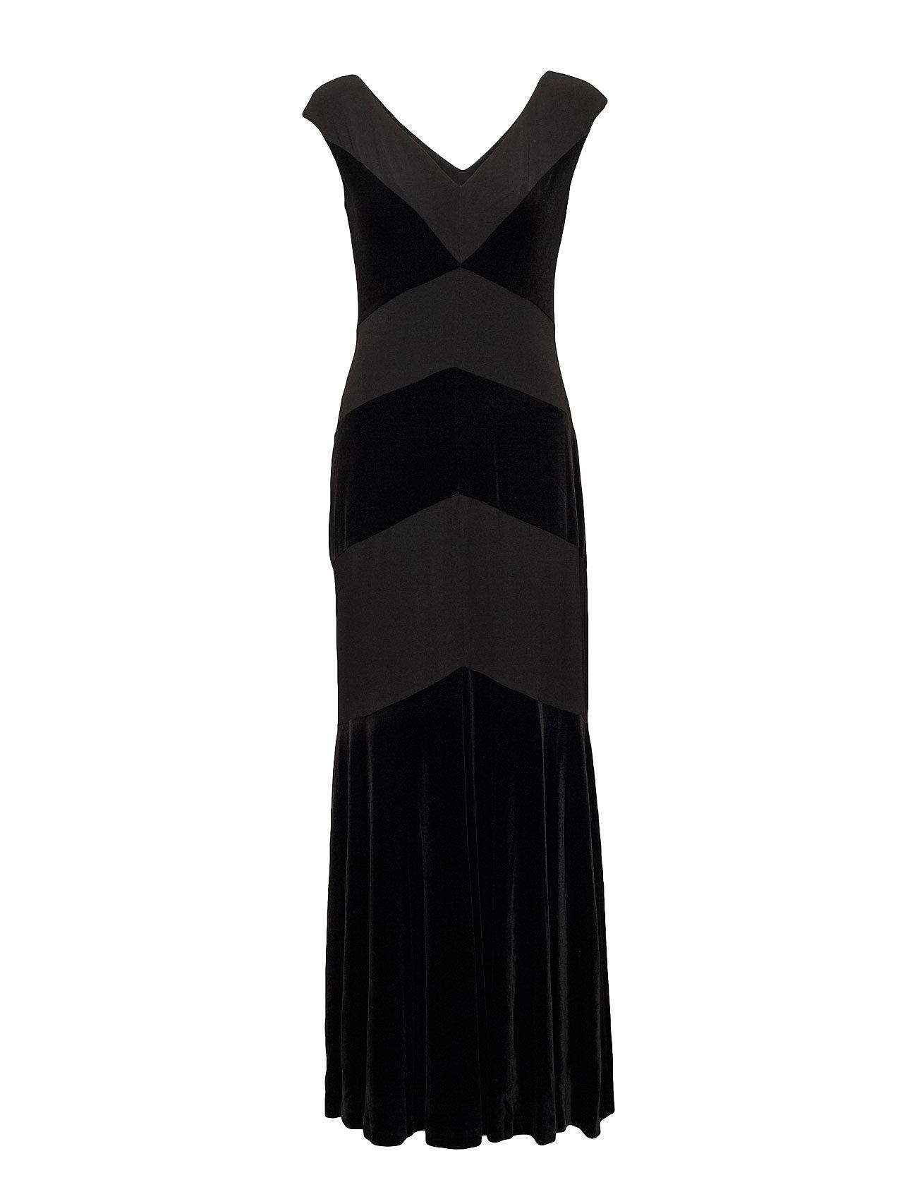 Lauren Ralph Velvet Jersey Cap Sleeve Gown