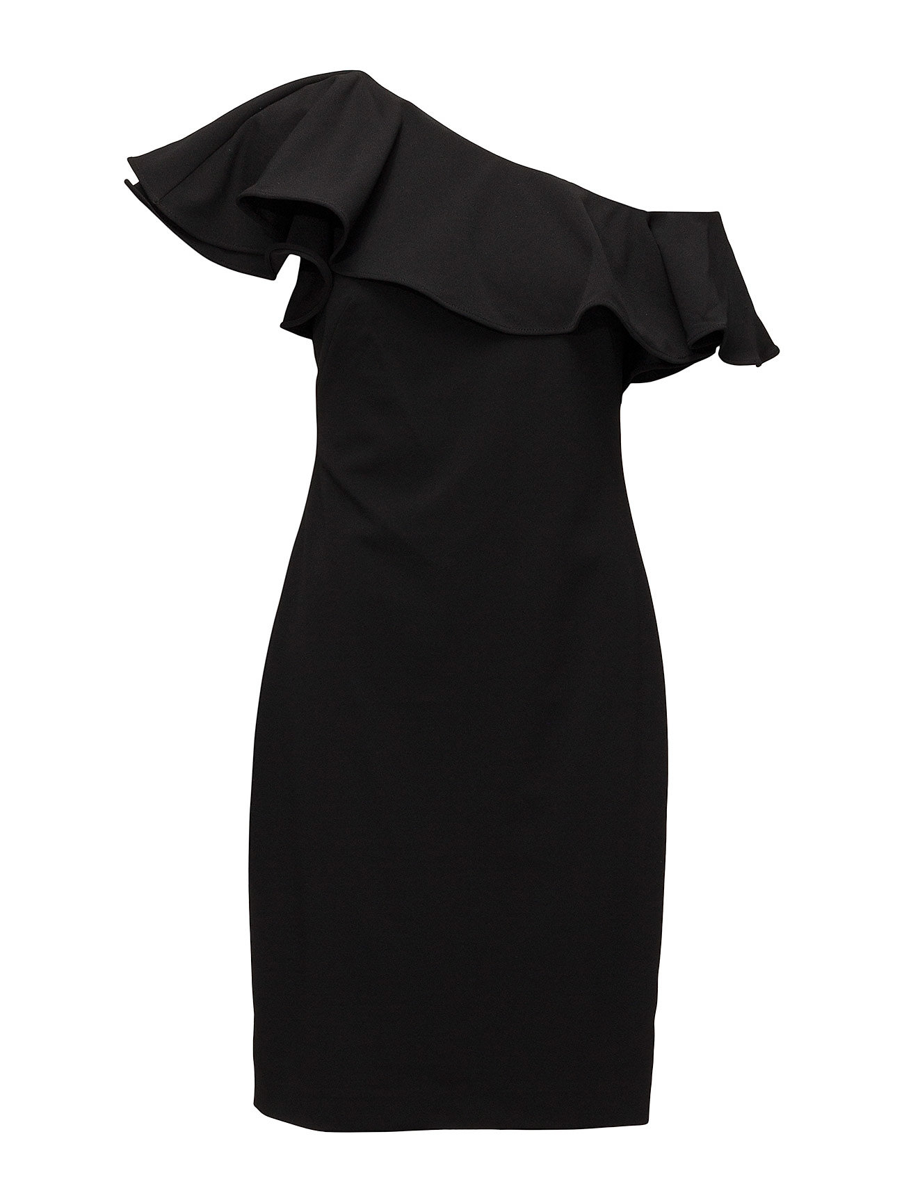 Ruffled One-shoulder Dress (Black) (£126) - Lauren Ralph Lauren ...