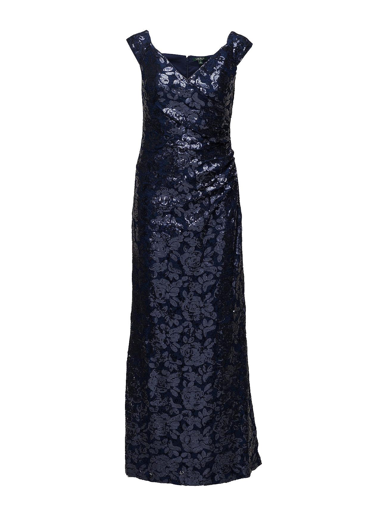Sequined Off-the-shoulder Gown (Indigo/indigo Shi) (£165) - Lauren ...