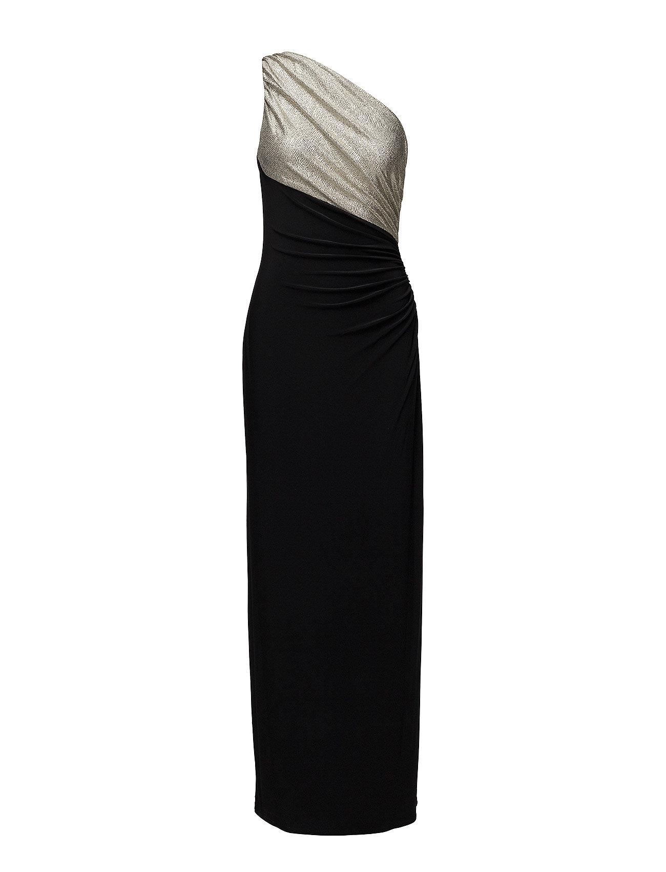 Jersey One-shoulder Gown (Black/gold) (£210) - Lauren Ralph Lauren ...