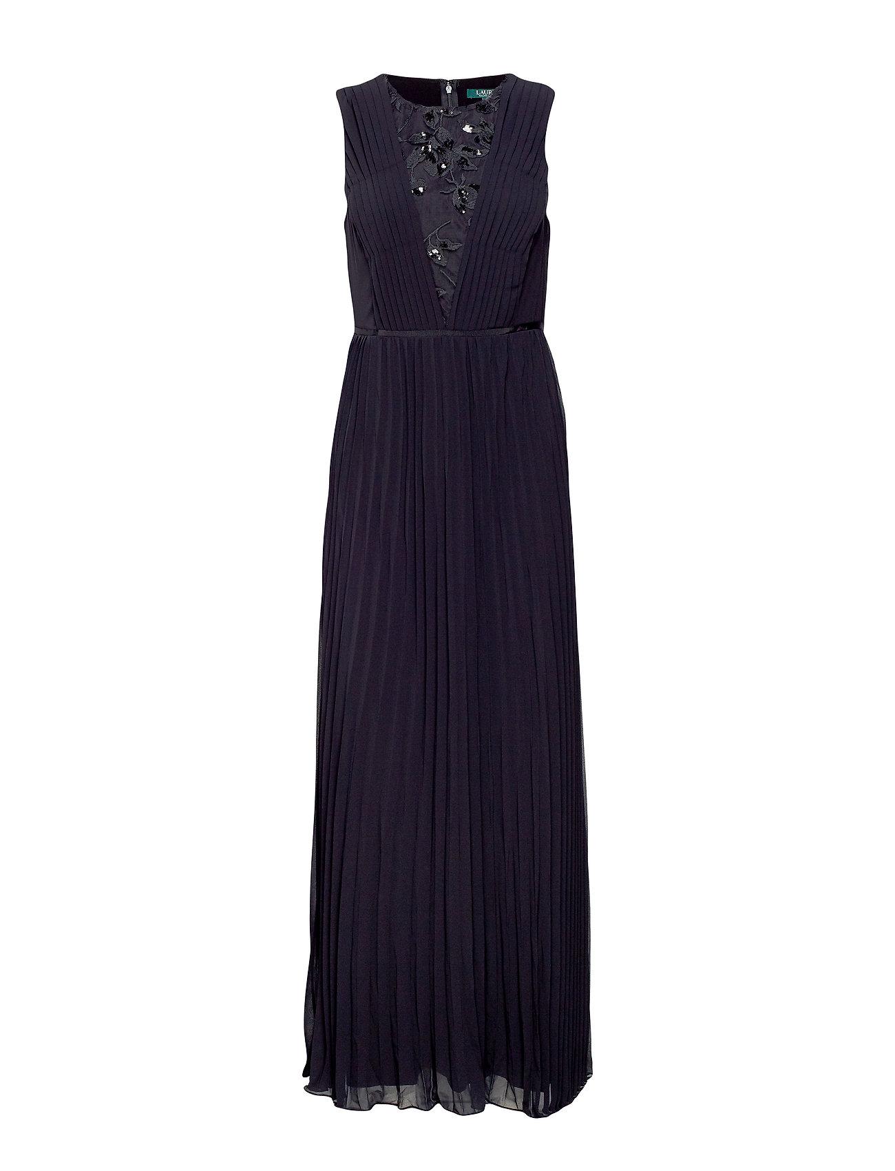 Lauren Ralph Lauren Pleated Chiffon Gown - BLACK/BLACK SHINE