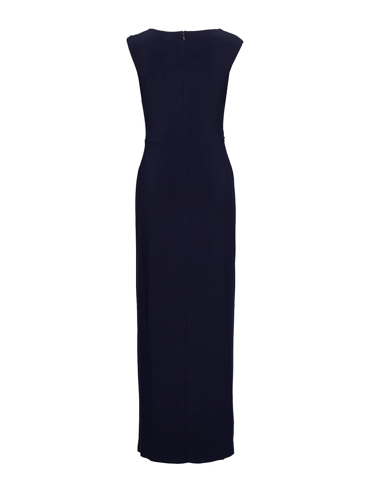 Lauren Ralph Lauren Brooch Jersey Cowlneck Gown