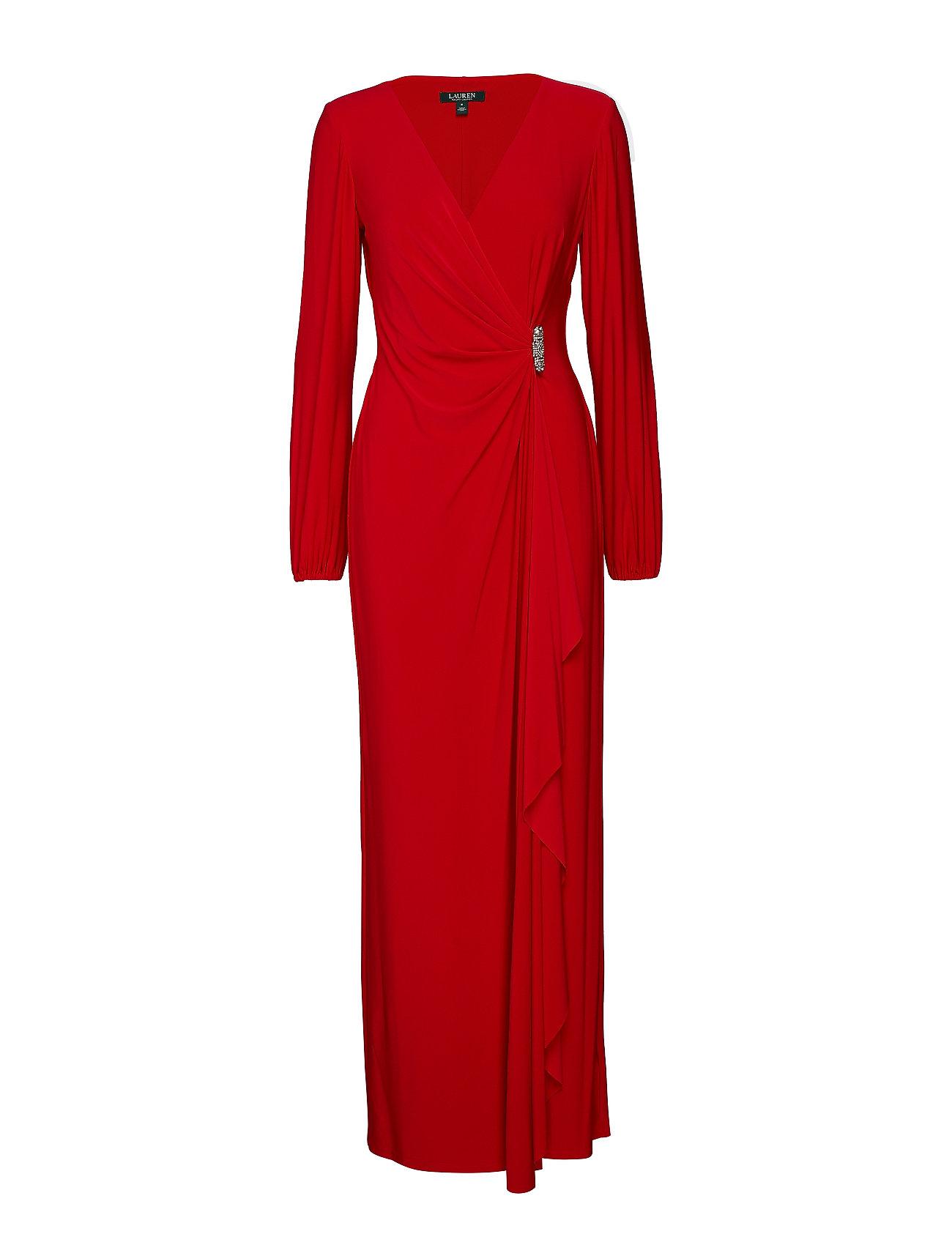 Lauren Ralph Lauren Brooch Jersey Gown