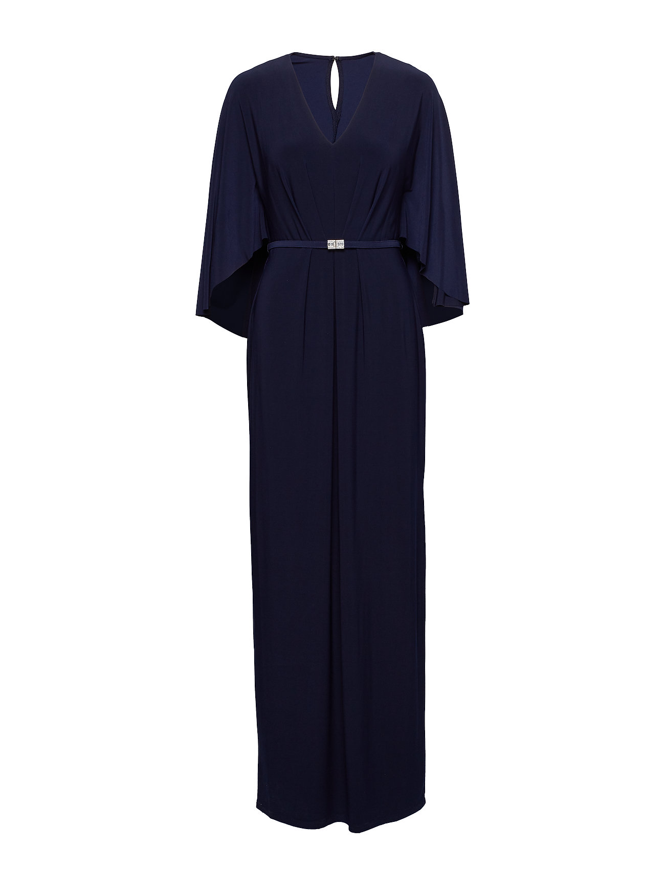 Lauren Ralph Lauren Belted Cape Jersey Gown - LIGHTHOUSE NAVY