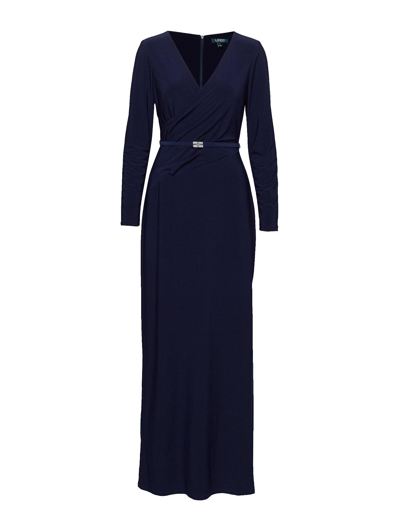 Lauren Ralph Lauren Belted Ruched Jersey Gown
