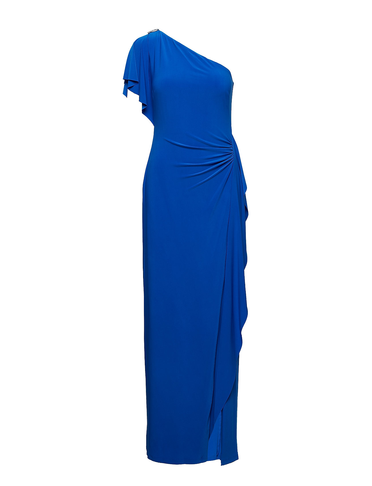 Lauren Ralph Lauren Brooch One-Shoulder Gown