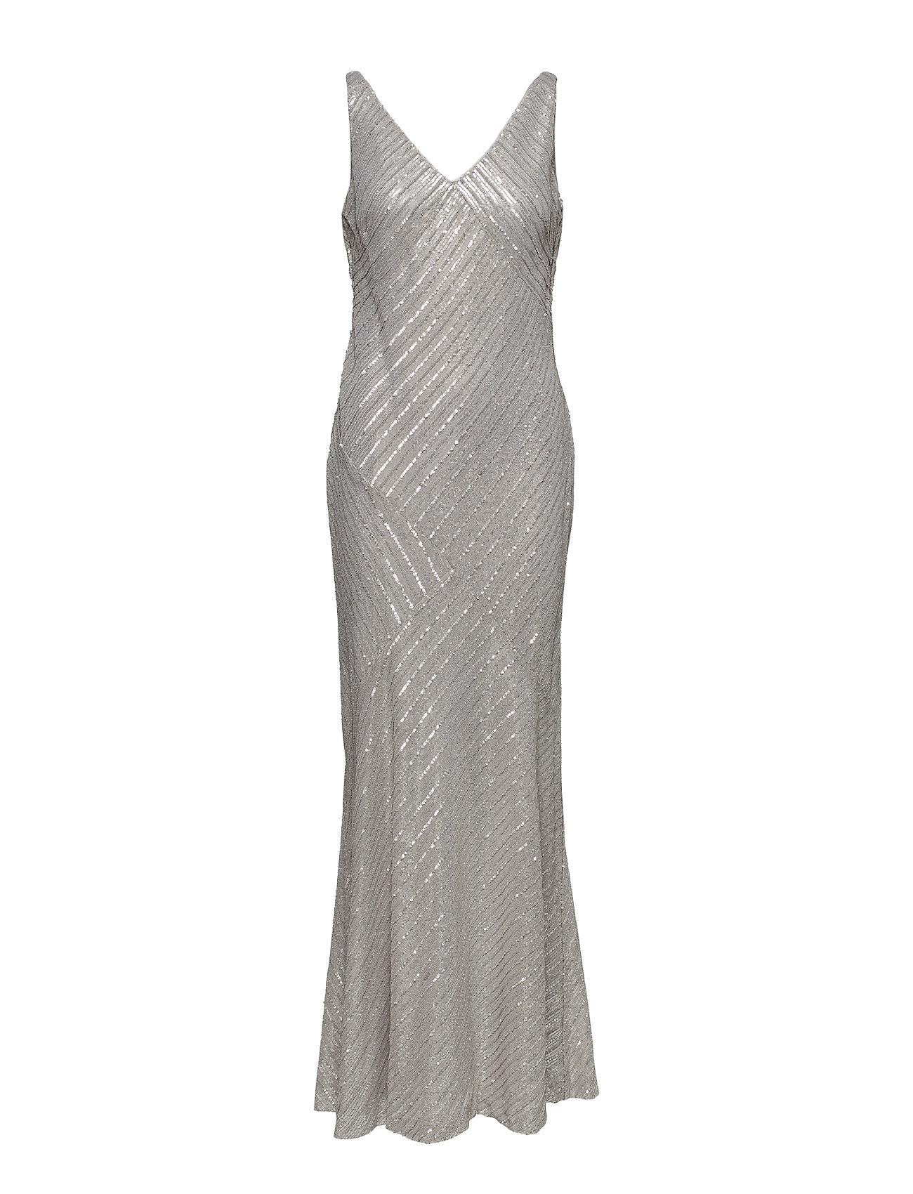 Lauren Ralph Lauren Sequined Mesh Gown - GREY PEARL
