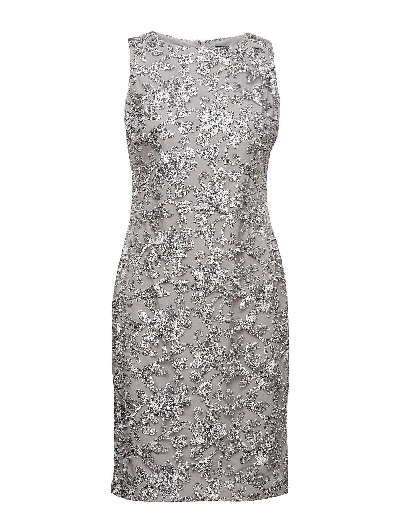 Lauren Ralph Lauren Sequined Floral Mesh Dress - GREY PEARL