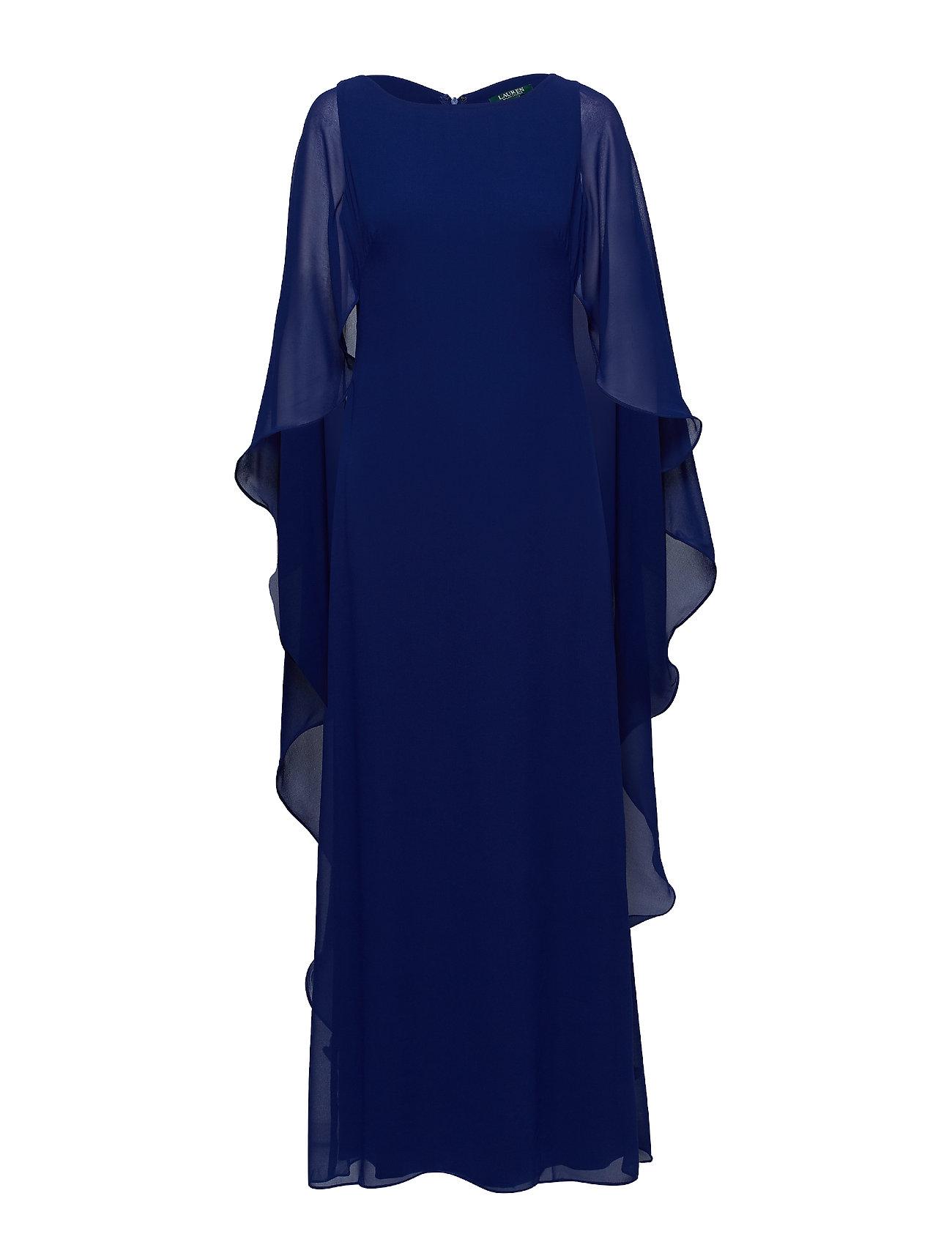 Lauren Ralph Lauren Cape-Overlay Georgette Gown