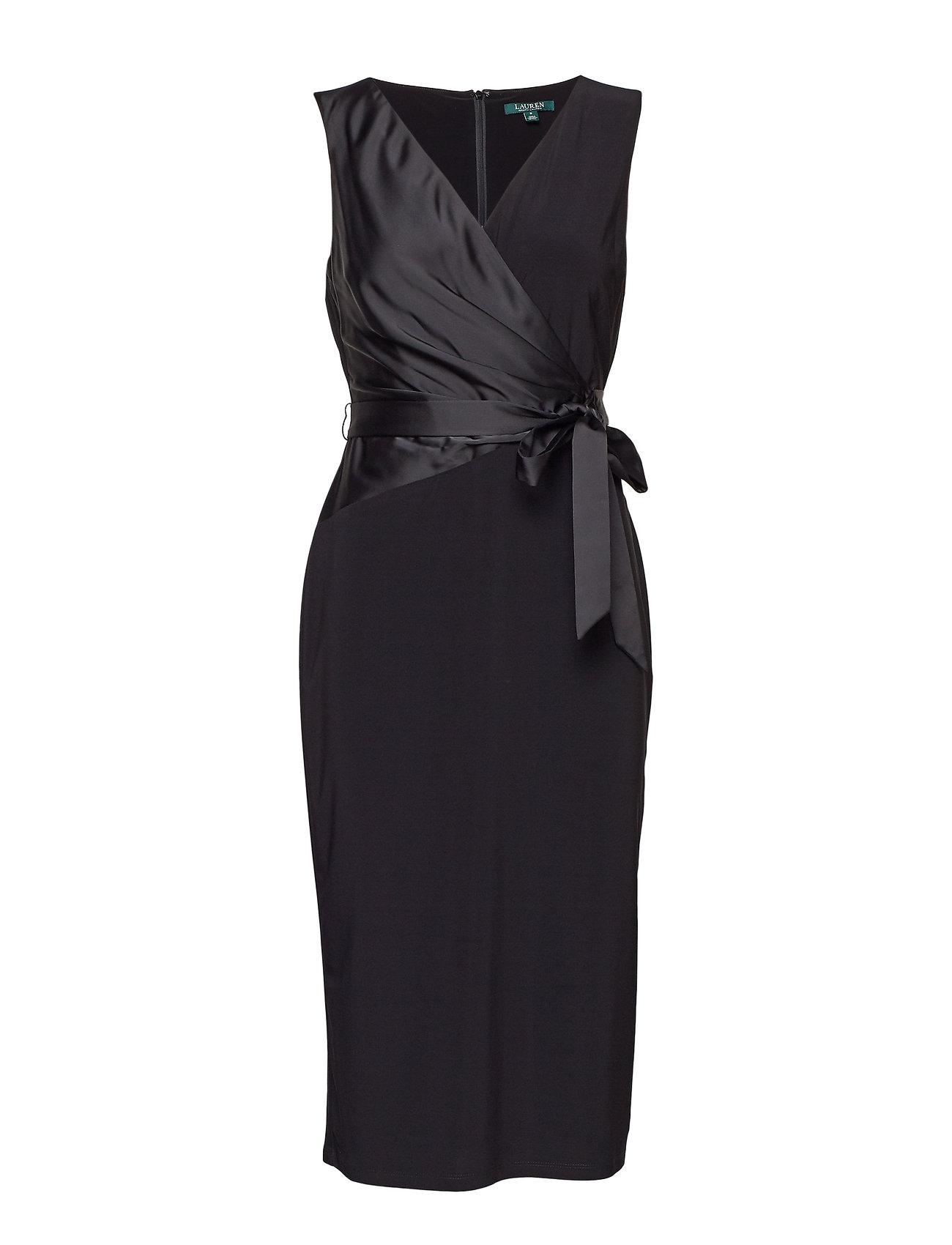 Lauren Ralph Lauren Satin-Sash Midi Dress - BLACK