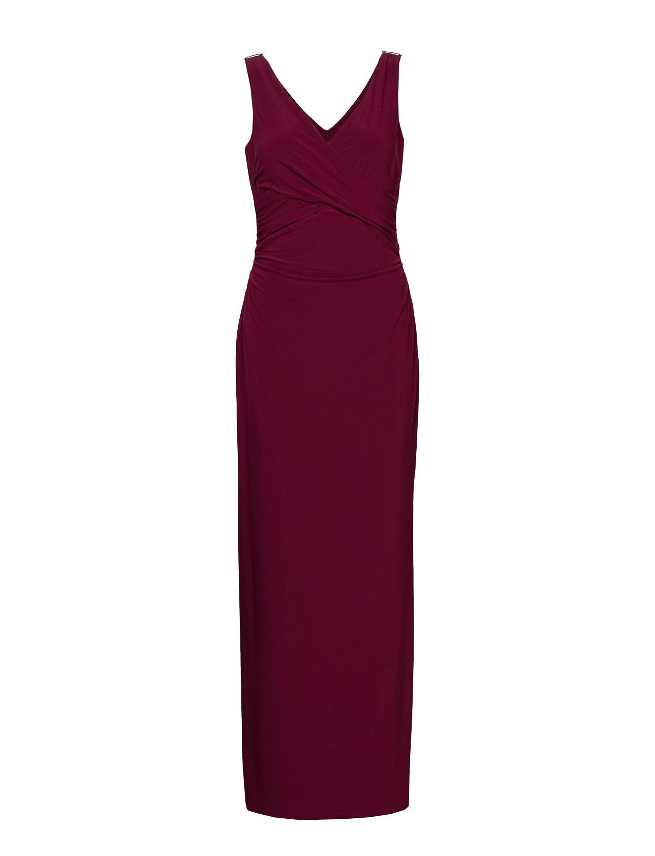 Lauren Ralph Lauren Rhinestone-Pin Jersey Gown - EXOTIC RUBY