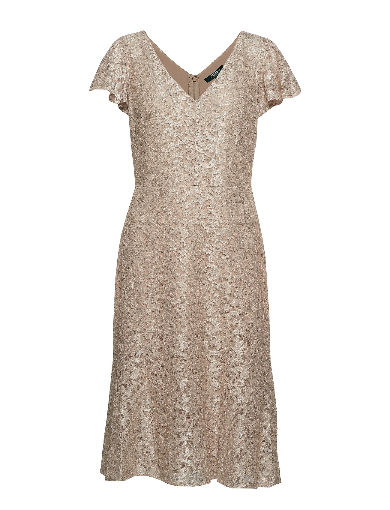 Lauren Ralph Lauren Flutter-Sleeve Lace Cocktail Dress - SPARKLING  CHAMPA