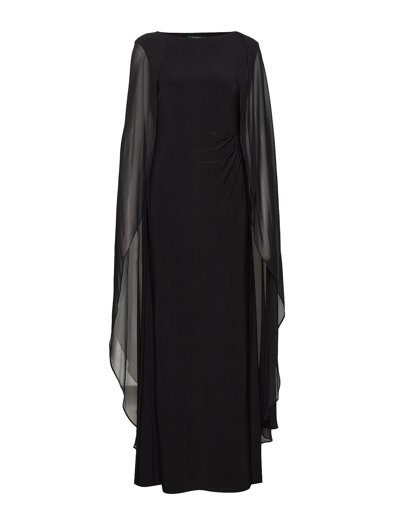 Lauren Ralph Lauren - Georgette-Cape Jersey Gown - aftenkjoler - black - 0