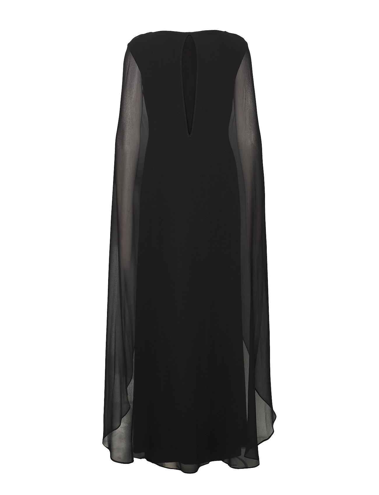 Lauren Ralph Lauren - Georgette-Cape Jersey Gown - aftenkjoler - black - 1