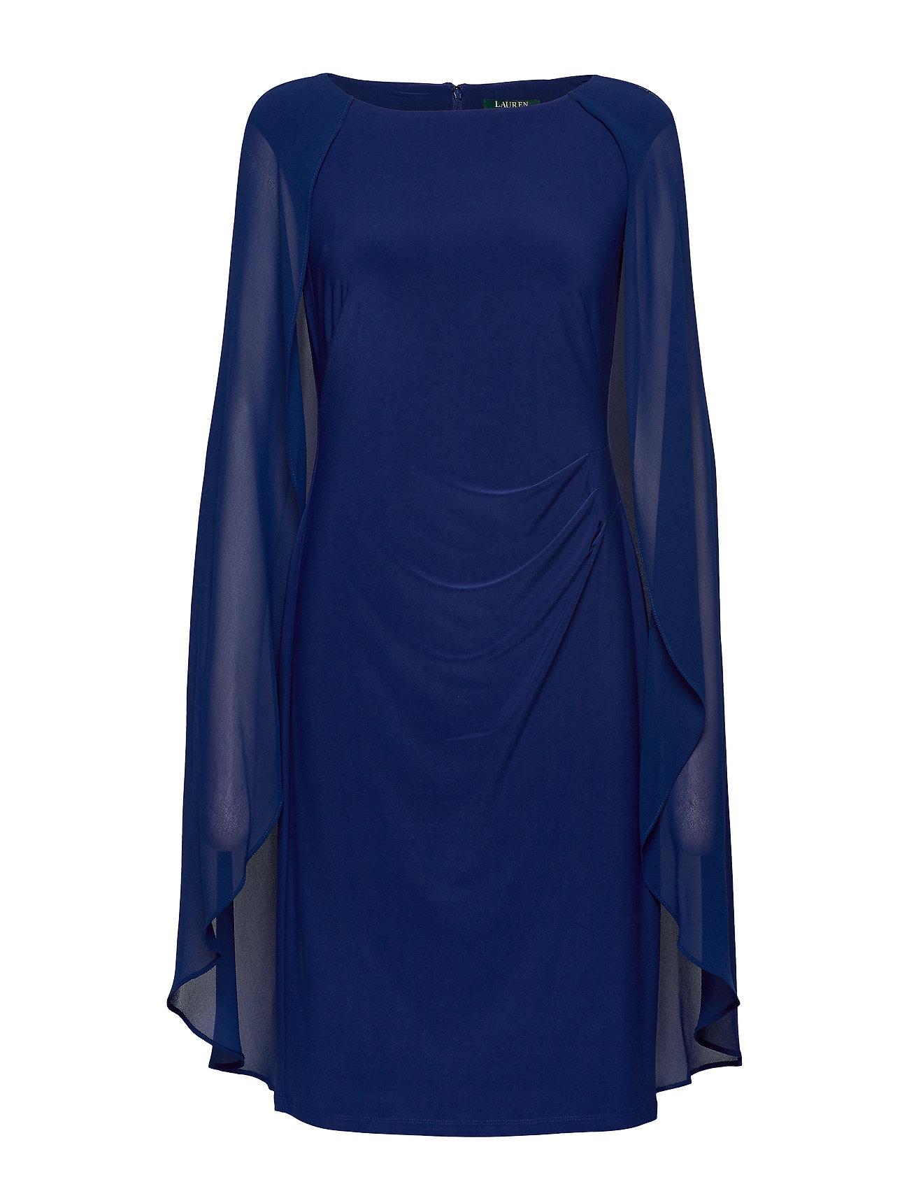 Lauren Ralph Lauren Georgette-Cape Cocktail Dress - PARISIAN BLUE