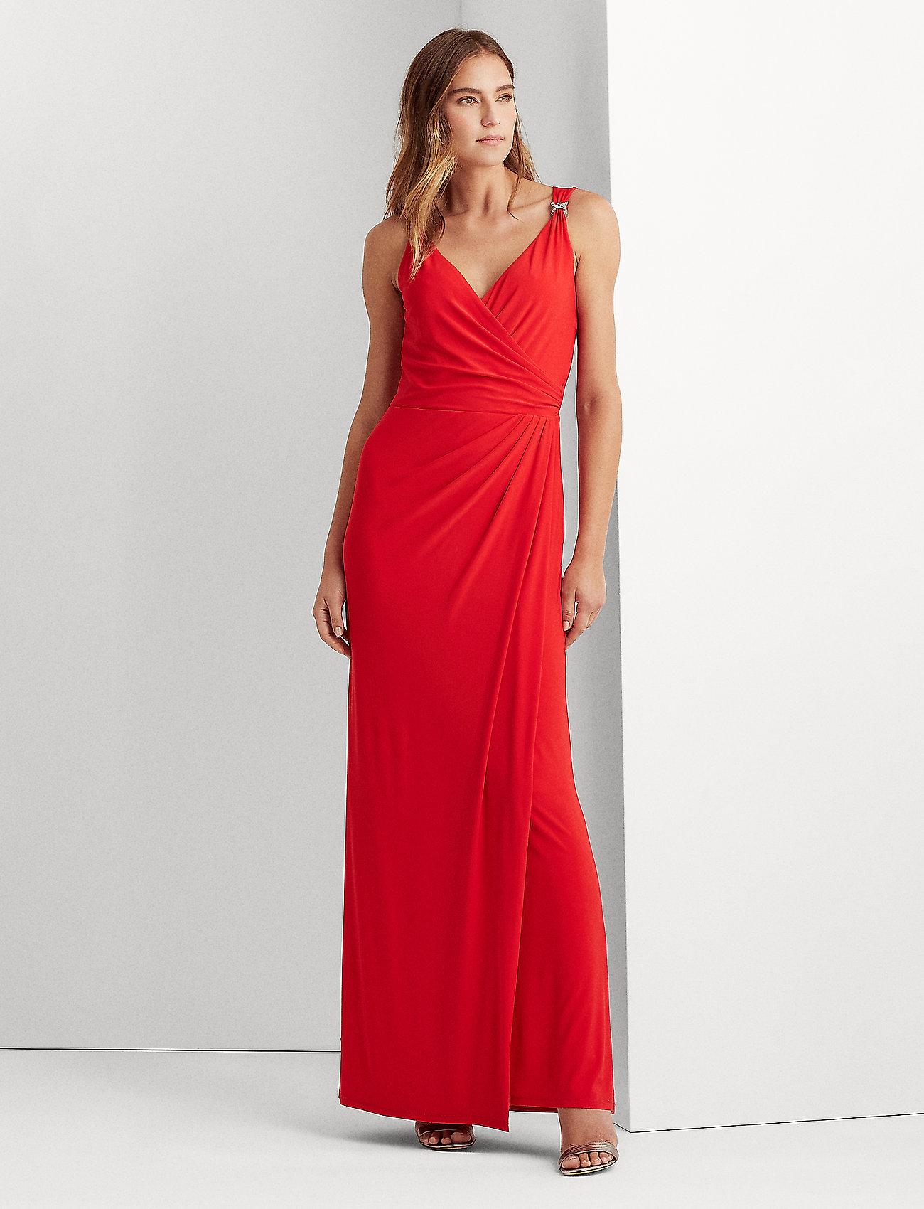 Lauren Ralph Lauren - Jersey Sleeveless Dress - aftenkjoler - orient red - 0