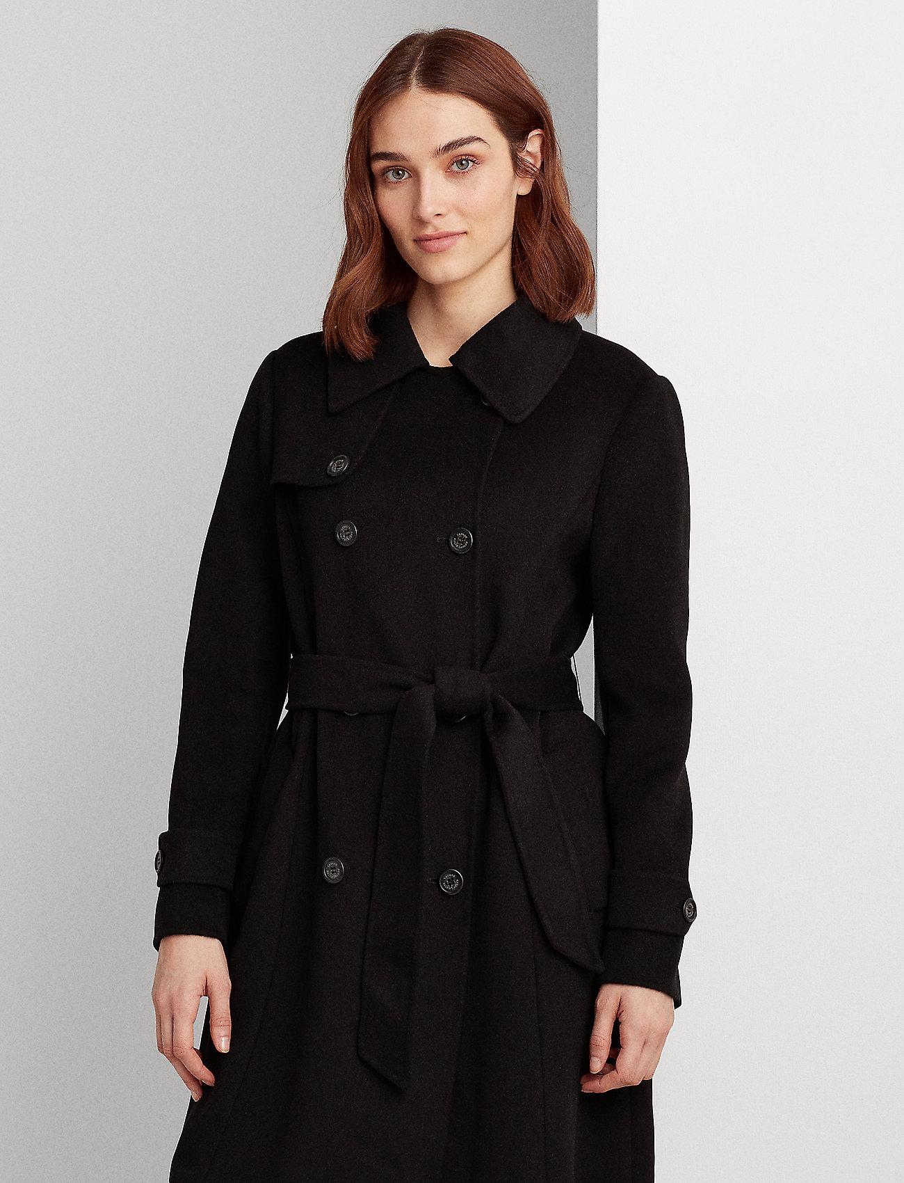 Lauren Ralph Lauren - Wool-Blend Trench Coat - uldfrakker - black - 0