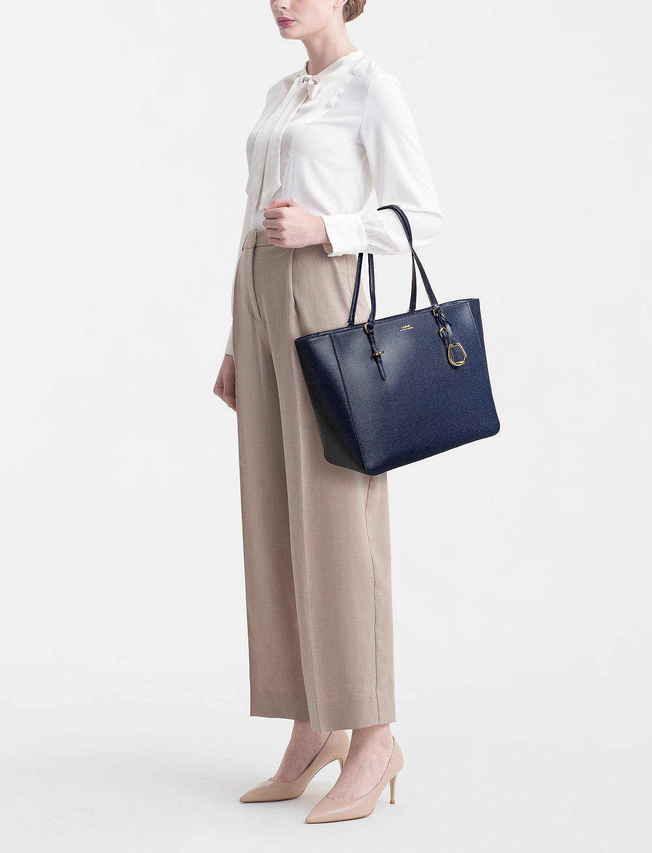 Lauren Ralph Lauren - Saffiano Leather Tote - fashion shoppers - navy