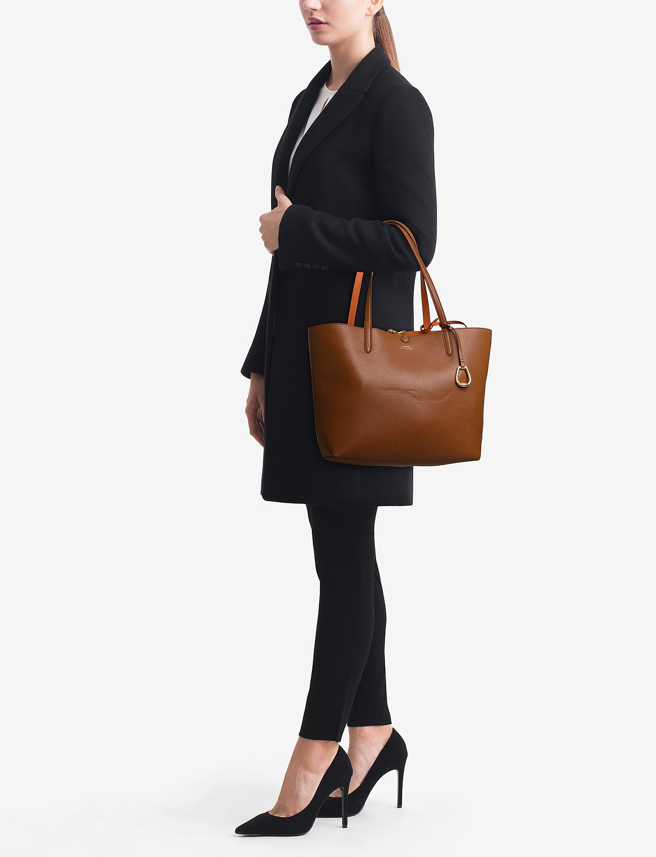 Lauren Ralph Lauren Reversible Faux Leather Tote - LAUREN TAN/ORANGE