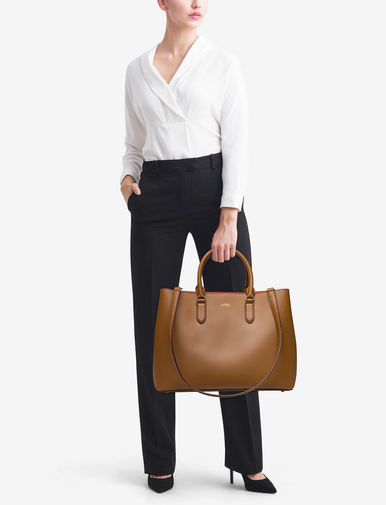 Lauren Ralph Lauren Leather Marcy Satchel - FIELD BROWN/ORANG