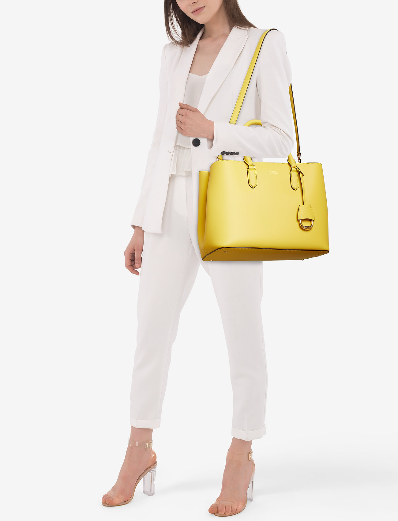 Lauren Ralph Lauren Leather Marcy Satchel - LEMON SORBET/ALPA