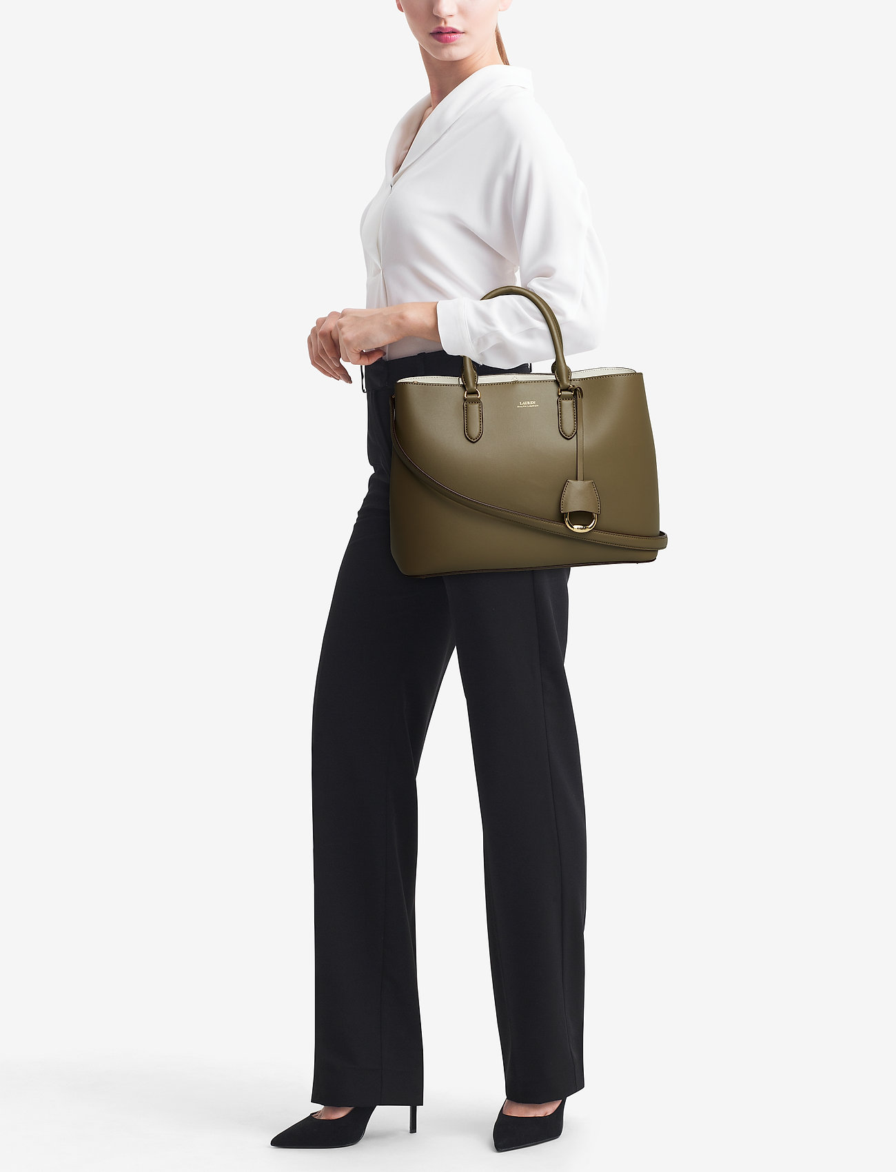 Lauren Ralph Lauren Leather Marcy Satchel - SAGE/VANILLA
