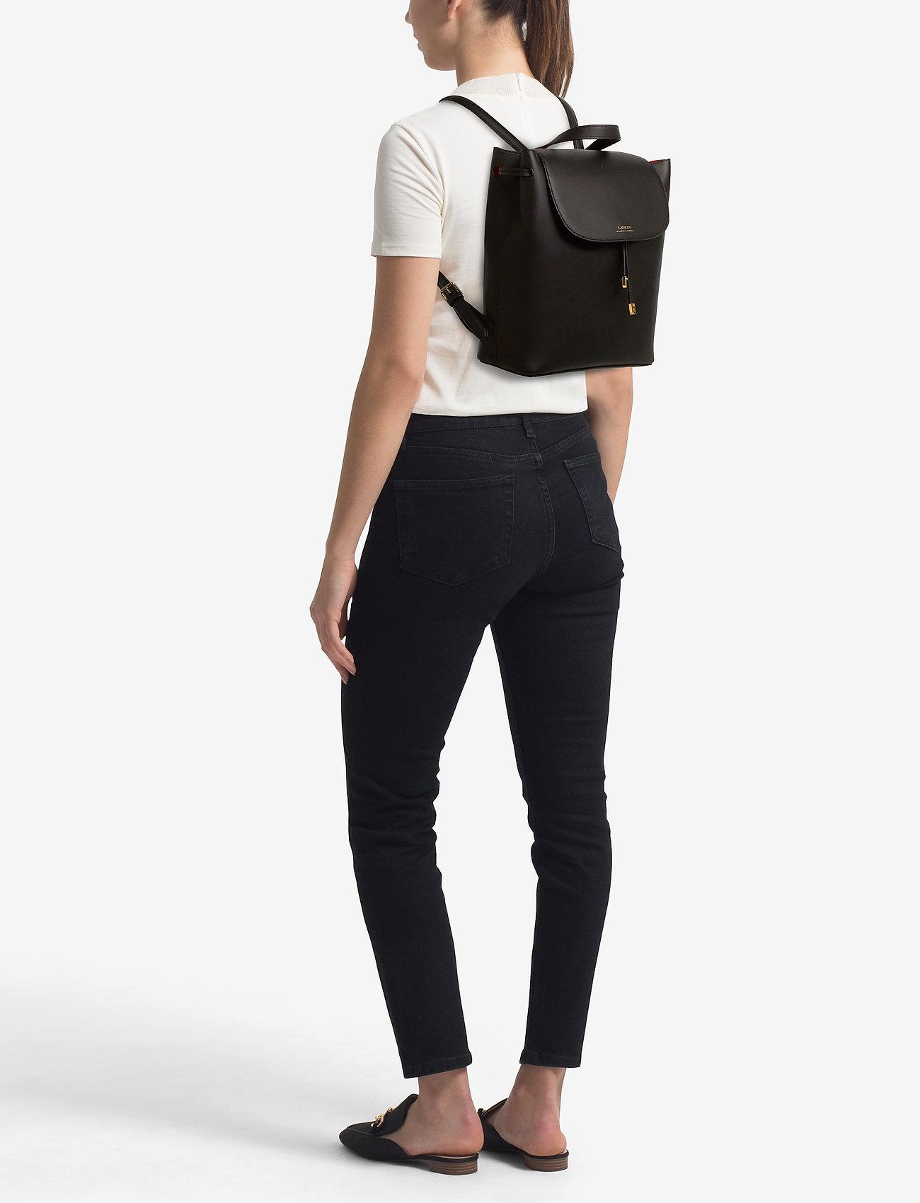 Lauren Ralph Lauren Drawstring Leather Backpack - BLACK/CRIMSON