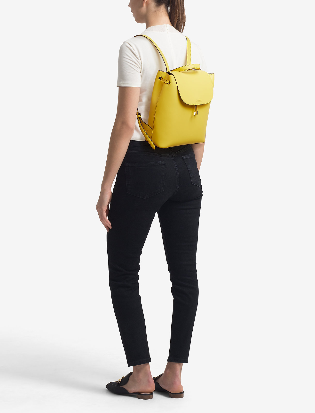 Lauren Ralph Lauren Drawstring Leather Backpack - LEMON SORBET/ALPA