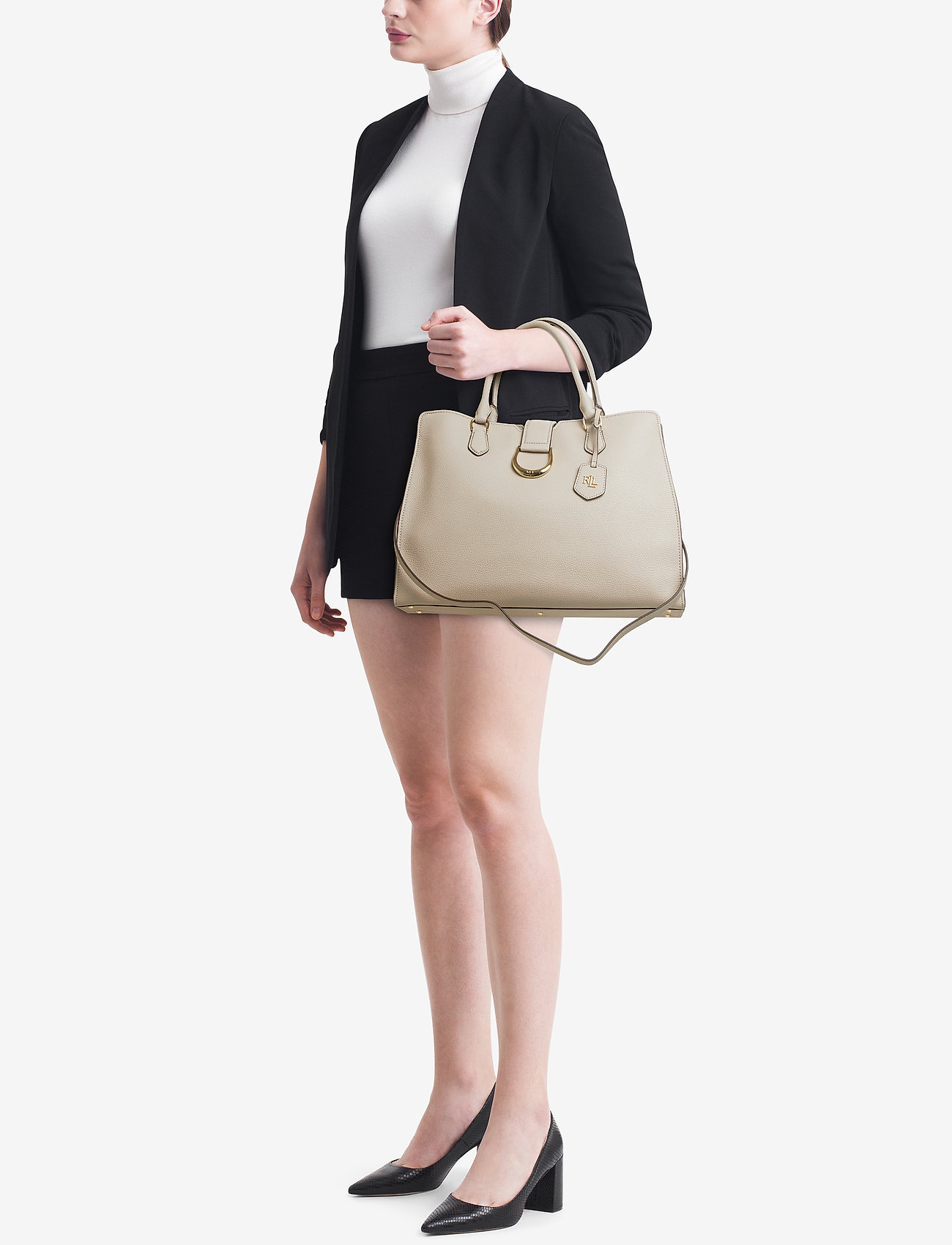 Lauren Ralph Lauren Large Pebbled Leather Satchel