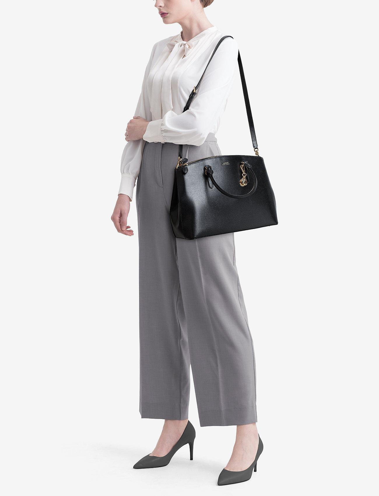 Lauren Ralph Lauren Saffiano Leather Large Satchel - BLACK