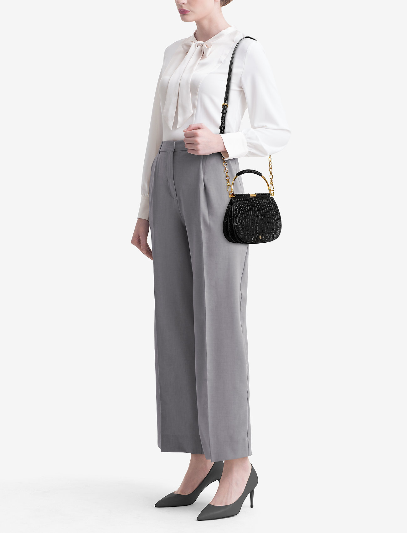 Lauren Ralph Lauren Mini Round Leather Satchel - BLACK