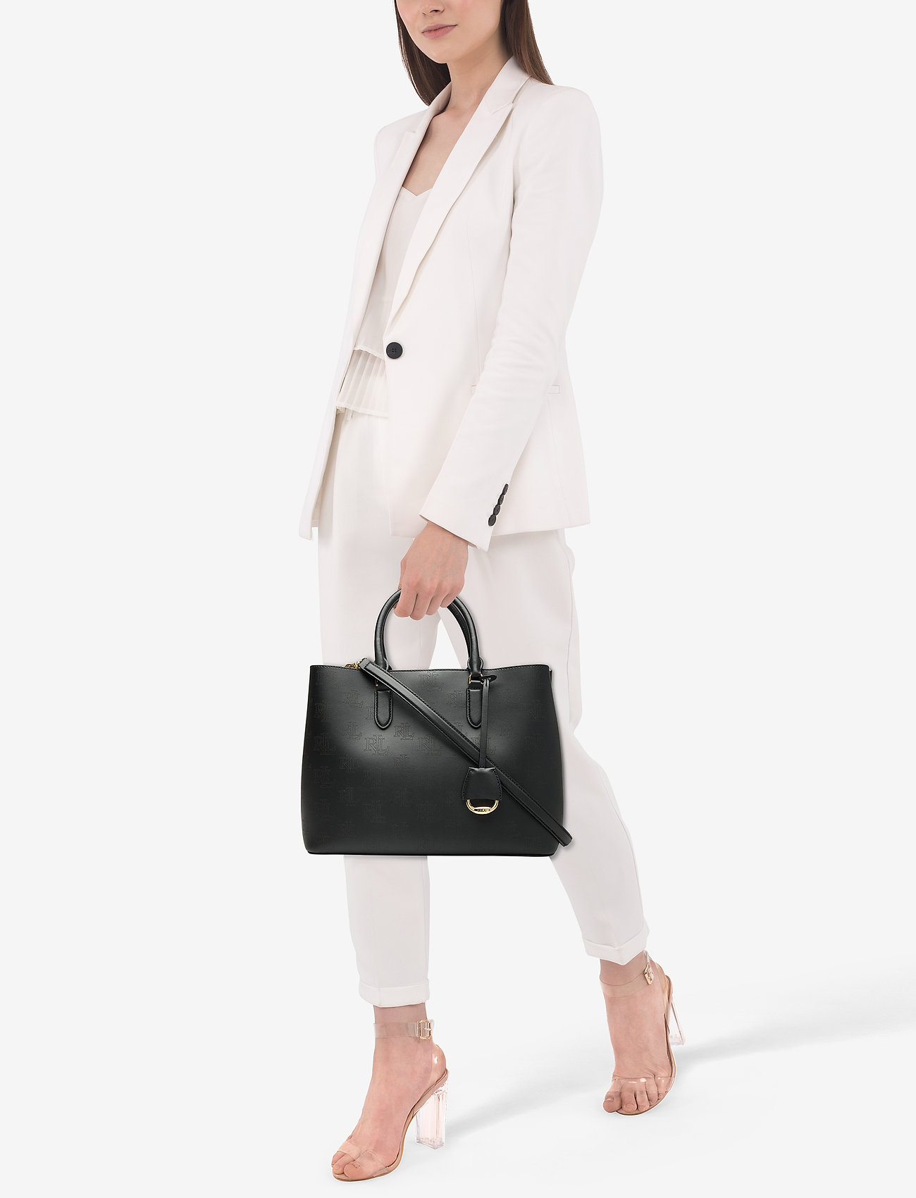 Lauren Ralph Lauren Large Leather Marcy Satchel - BLACK/PORCINI