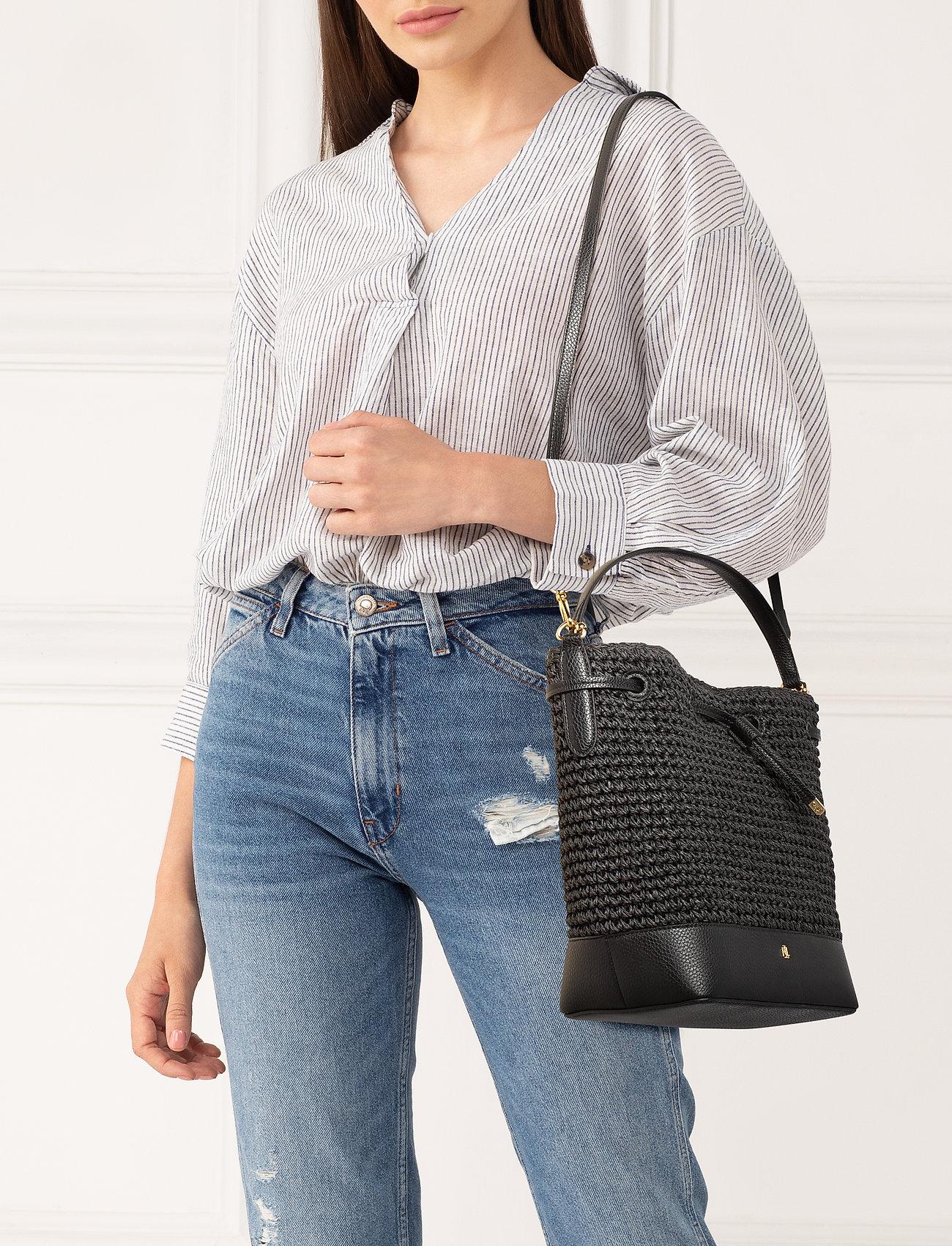Lauren Ralph Straw Debby Drawstring Bag - Bucket Bags Black
