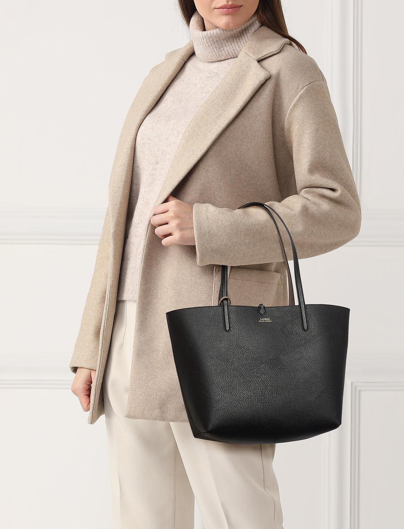 Lauren Ralph Lauren Faux-Leather Reversible Tote - BLACK/TAUPE