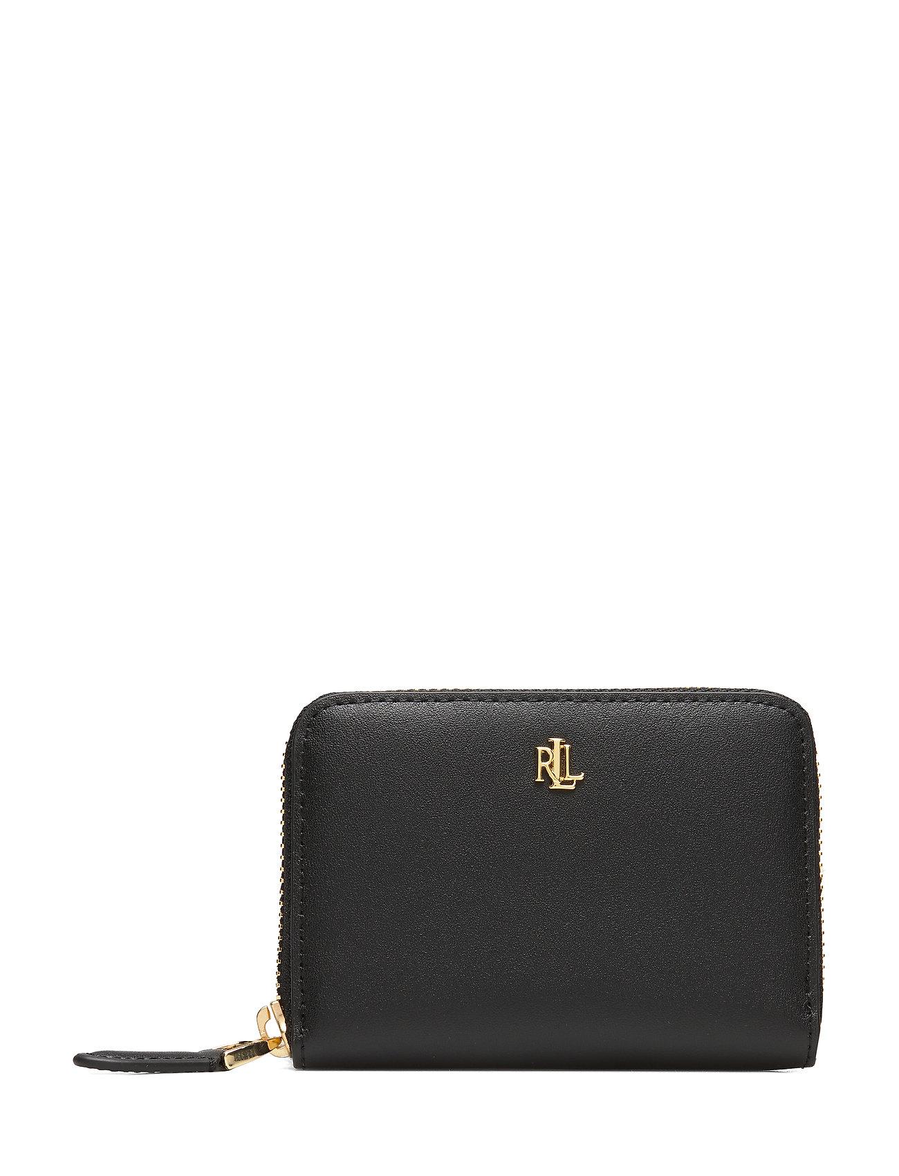 Lauren Ralph Lauren Leather Zip Wallet - BLACK/CRIMSON