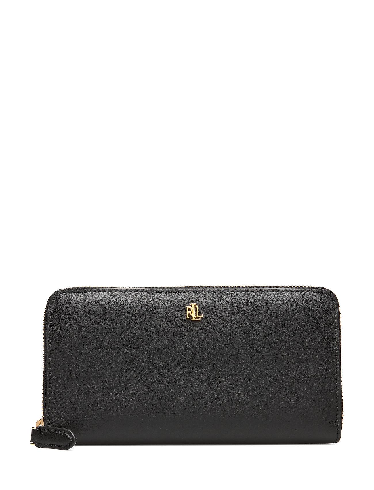 Lauren Ralph Lauren Leather Continental Zip Wallet - BLACK/CRIMSON