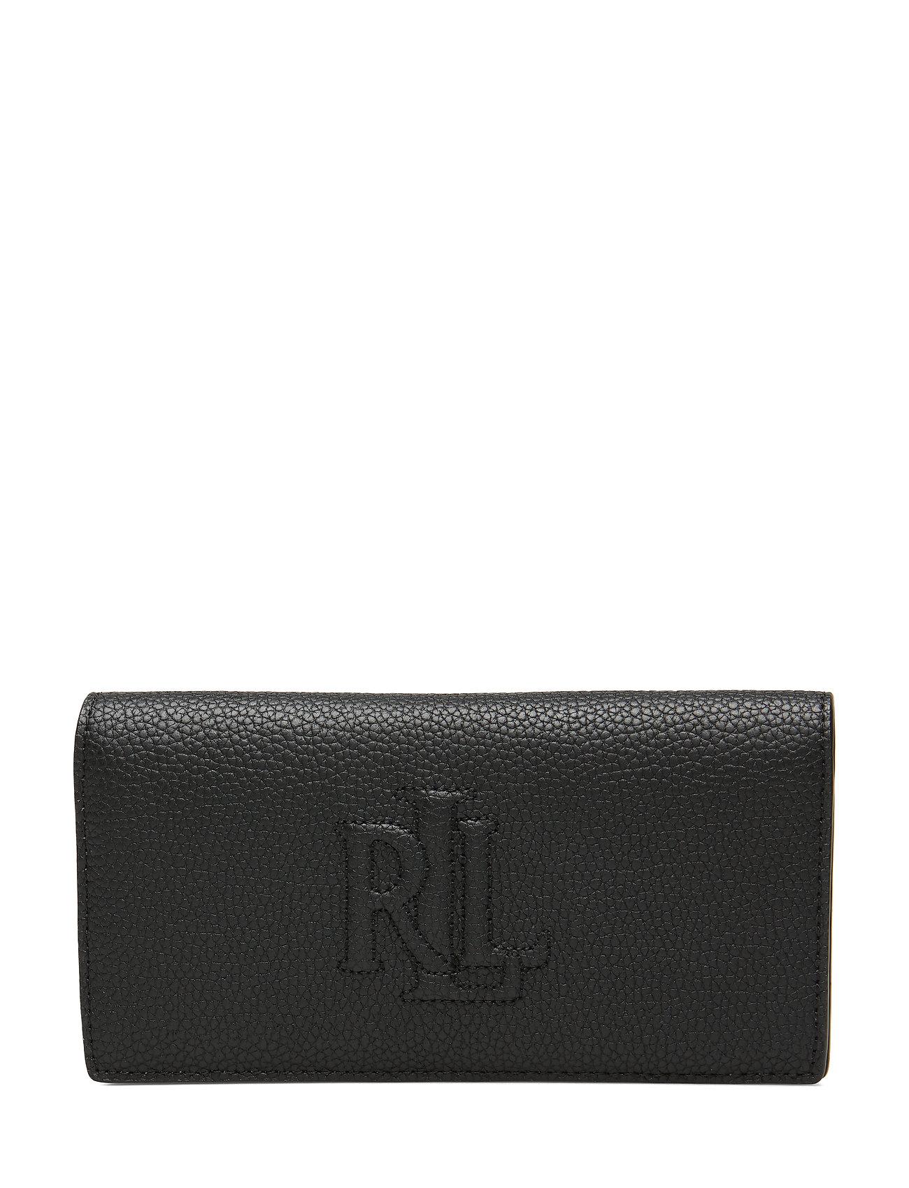 Lauren Ralph Lauren Slim Pebbled Leather Wallet - BLACK