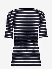 Lauren Ralph Lauren - RFND STRTCH 1X1 RIB-ELB SLV BT NK T - t-shirts - lauren navy/white - 1