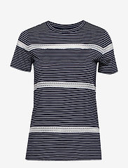 Lauren Ralph Lauren - Lace-Trim Jersey Tee - raidalliset t-paidat - lauren navy/silk - 0