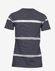 Lauren Ralph Lauren - Lace-Trim Jersey Tee - raidalliset t-paidat - lauren navy/silk - 1