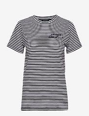 Lauren Ralph Lauren - Logo Striped Cotton Tee - raidalliset t-paidat - lauren navy/silk - 0