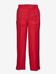Lauren Ralph Lauren - Linen-Blend Wide-Leg Pant - leveälahkeiset housut - lipstick red - 0