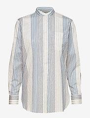 Lauren Ralph Lauren - Cotton Band-Collar Shirt - pitkähihaiset paidat - cream multi - 0