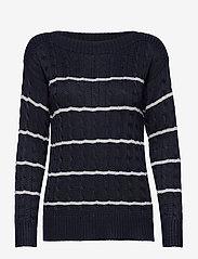 Lauren Ralph Lauren - Striped Cable Sweater - swetry - lauren navy/silve - 0