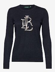 Lauren Ralph Lauren - Beaded-Logo Cotton Sweater - swetry - lauren navy - 0