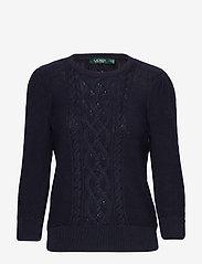 Lauren Ralph Lauren - Puff-Sleeve Cable Sweater - swetry - lauren navy - 0